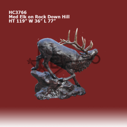 med-elk-on-rock-running-down-hill